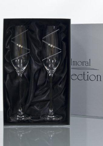 2 Ring Champagne Glasses | Swarovski Elements