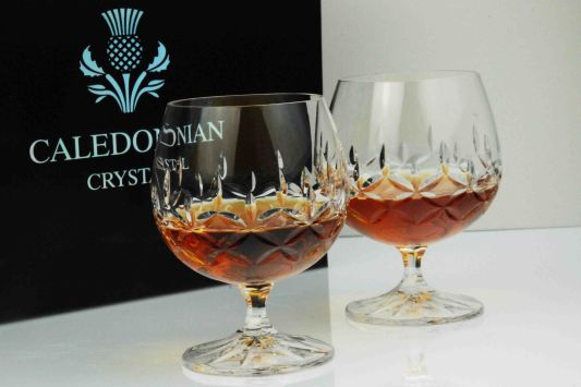 Admiralty Crystal Brandy Glass Pair in Presentation Box