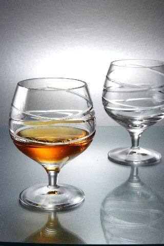 Cross Swirl Crystal Brandy Glasses | Set of 2