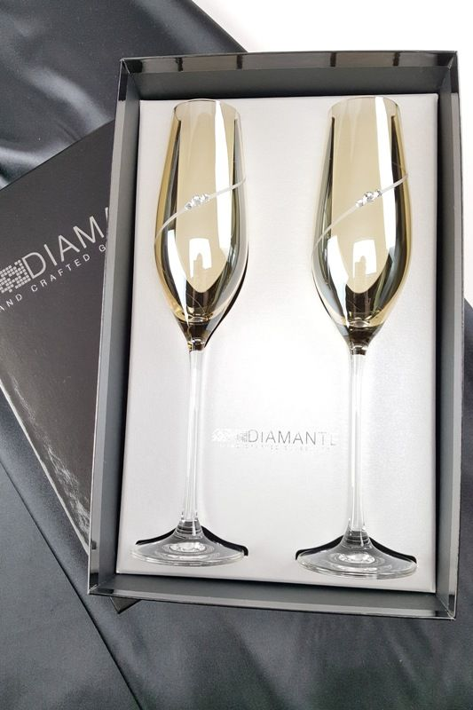 Diamante Amber Champagne Flutes
