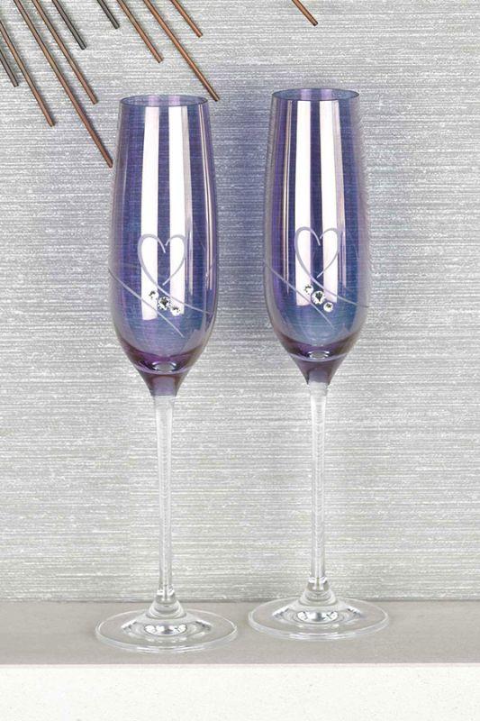Diamante Amethyst Champagne Flutes | Pair