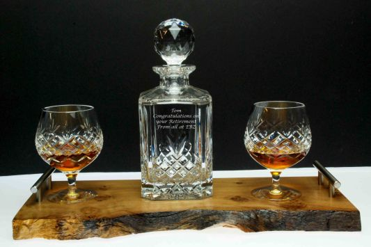 Handcrafted natural finished Oak Tray and 3-piece Brandy Decanter Set