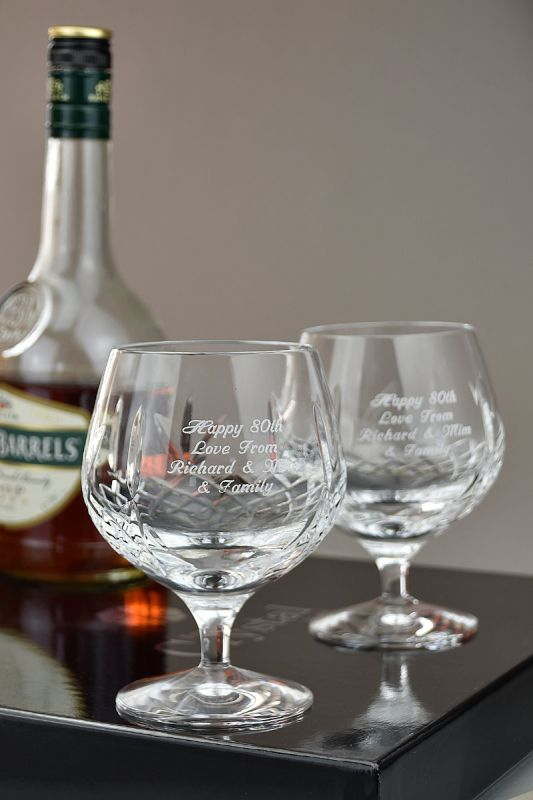Pair of Buckingham Crystal Brandy Glasses