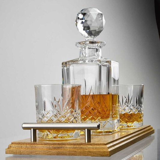 Buckingham Crystal Decanter Set and Solid Oak Tray