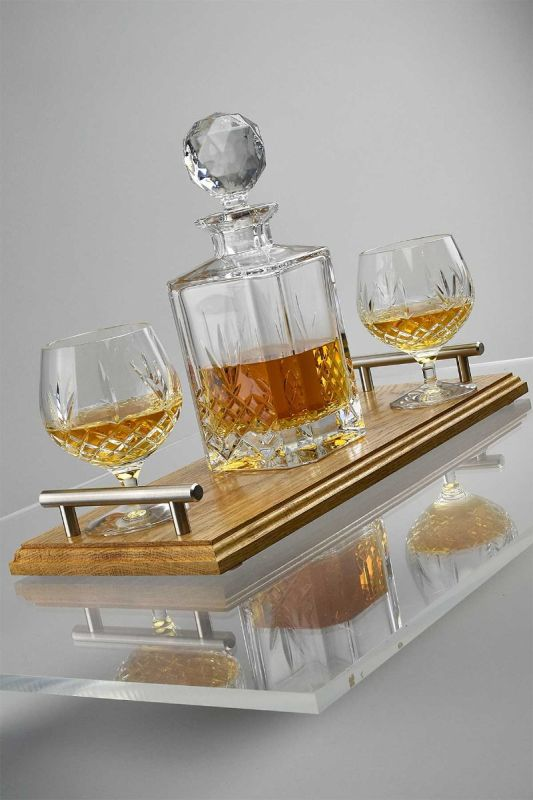 Traditional Brandy Decanter Set | Handcrafted Oak Tray