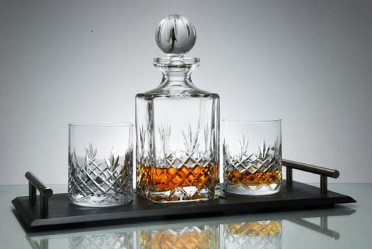 Personalised Buckingham Crystal Decanter and Hand Crafted Slate Tray for presentation award or retirement gift