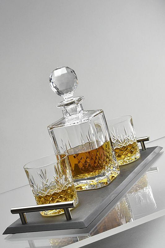 Buckingham Crystal Whisky Decanter Set and Handcrafted Slate Tray