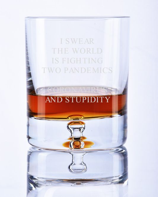 Engraved Bubble Base Whisky Glass Gift | Pandemic Motif