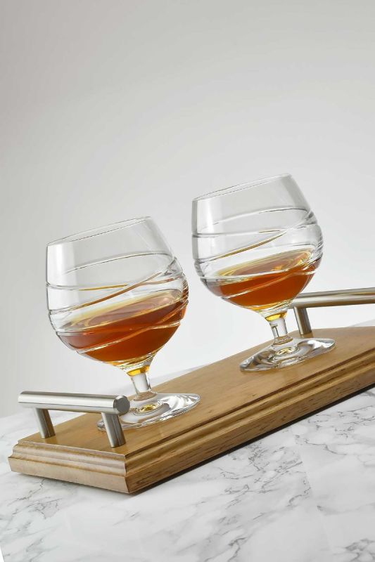 Taymore Crystal Brandy Glass Gift | Solid Bevelled Oak Tray