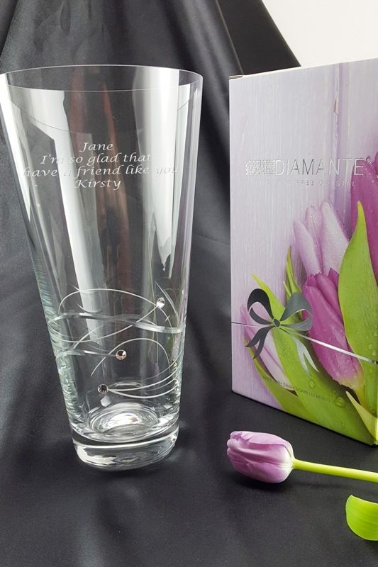 Engraved Diamante Conical Spiral Vase with Swarovski Elements