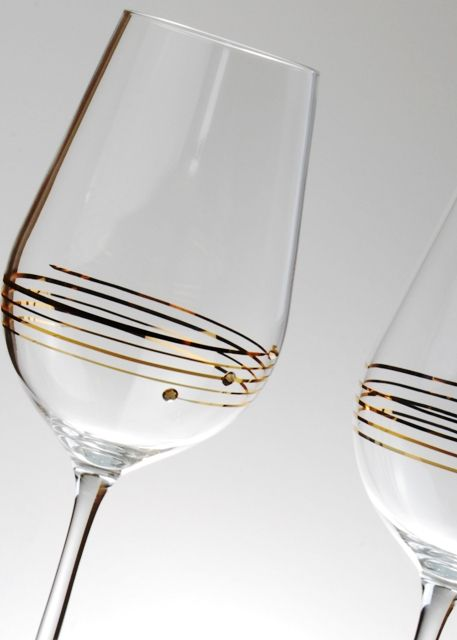 Diamante Gold Wine Glasses with Swarovski Elements - Priced to Clear
