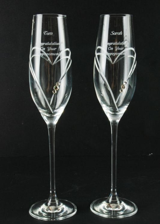 Personalised Heart Champagne Flute Pair with Swarovski Elements