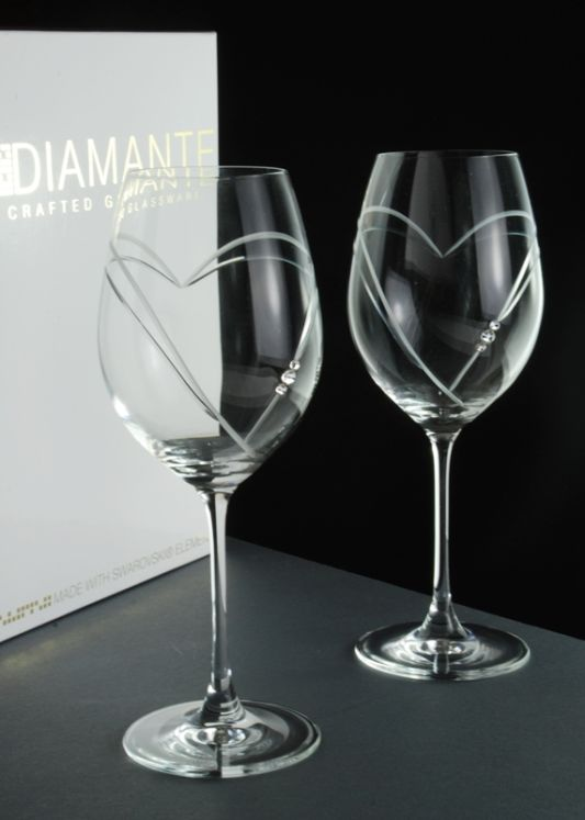 Engraved Heart Red Wines Glass | Satin Boxed Pair