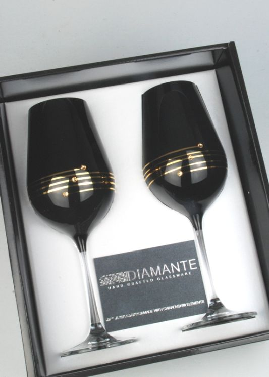 Black Diamante Wine Glass Pair Decorated with Swarovski Elements In Presentation Gift Box