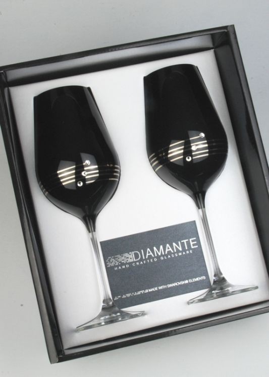 Diamante Nero Wine Goblets, Gold Detail, Decorated with Swarovski Elements