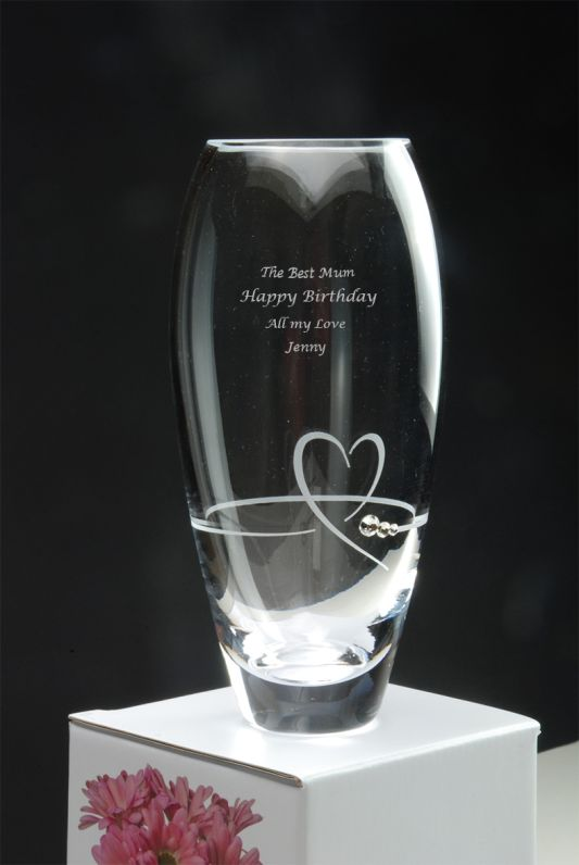Personalised Diamante Petit Heart Bud Vase with Swarovski Elements