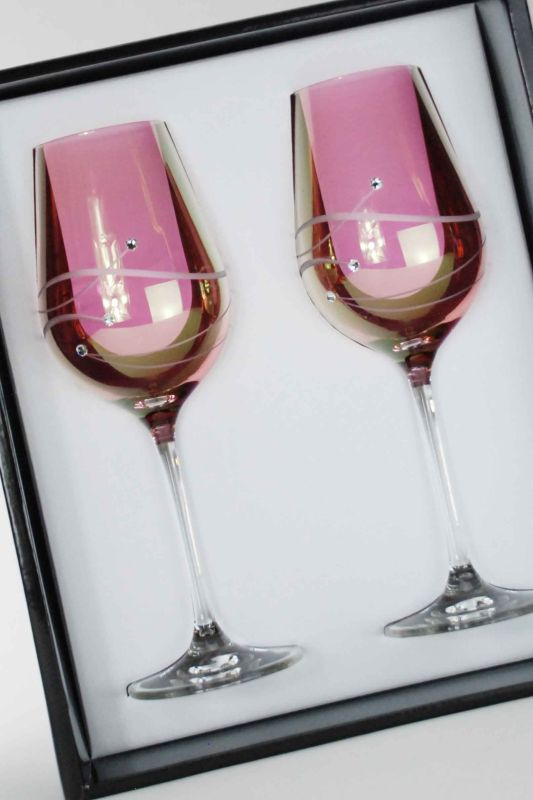 Diamante Pink Spiral White Wine Glasses