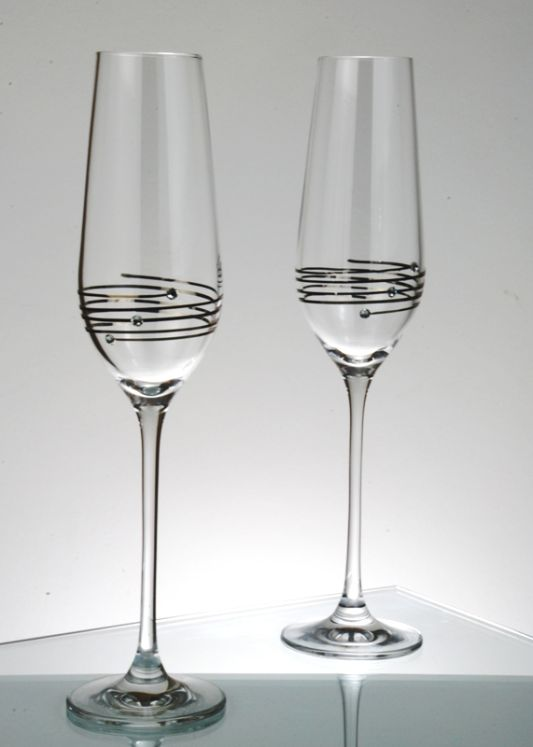 Diamante Platinum Champagne Flutes with Swarovski Elements