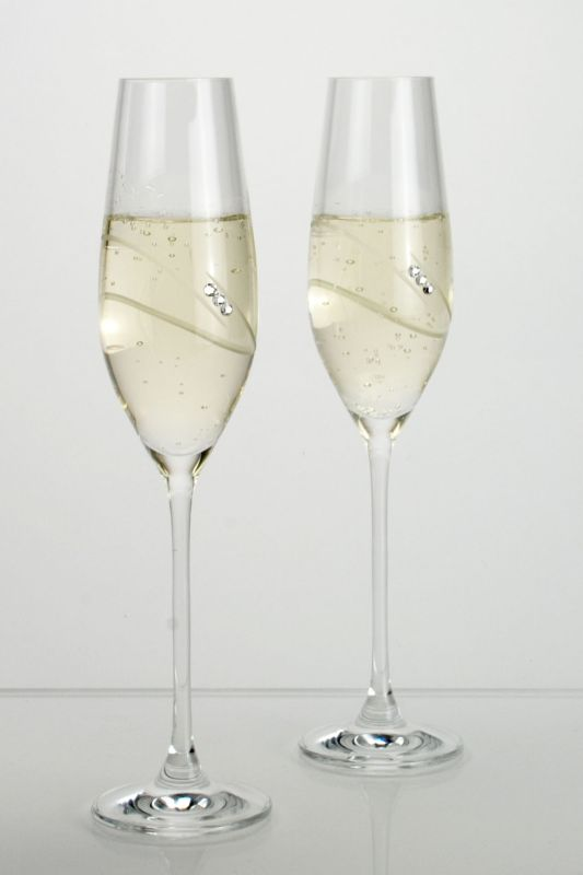 Pair of Wedding Ring Champagne Flutes - Gift Boxed