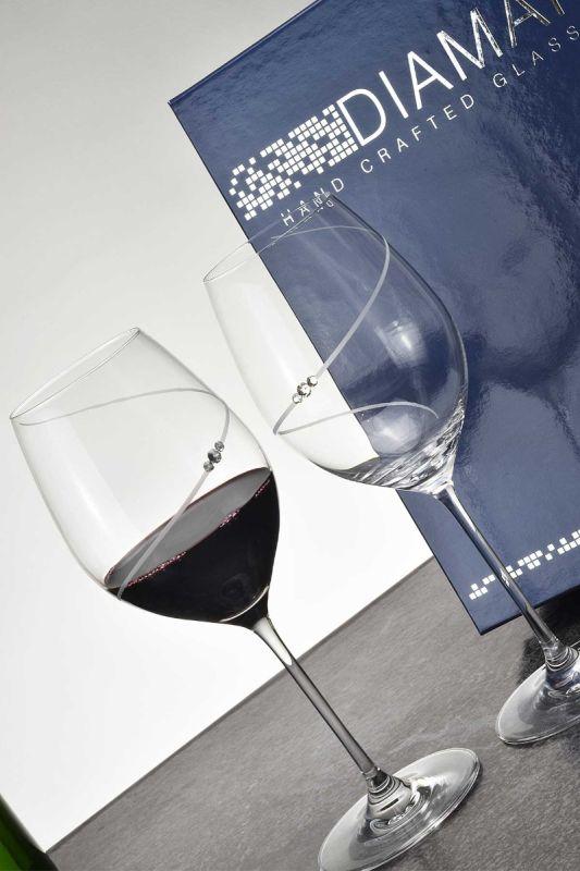 Diamante Red Wine Glass Pair