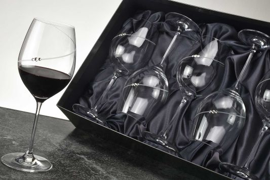 Diamante Silhouette Red Wine Glass Gift Set