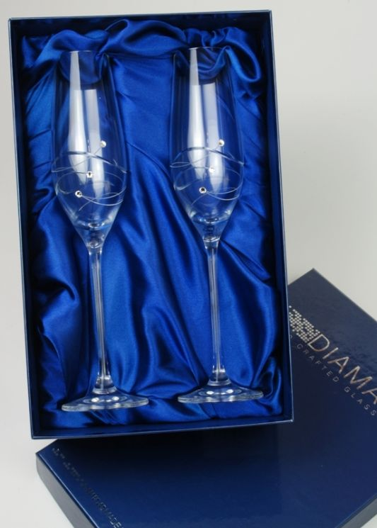 Spiral Champagne Flute Pair with Swarovski Elements