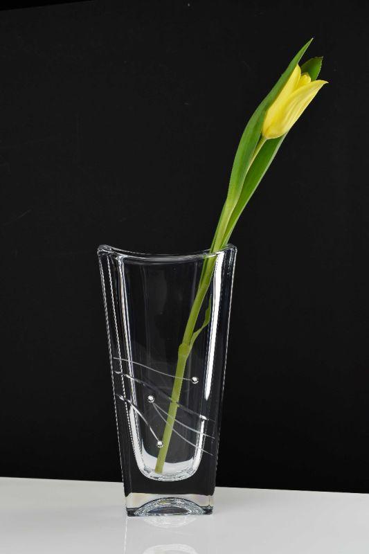 Engraved Rectangular Vase with Cut Design and Swarovski Elements