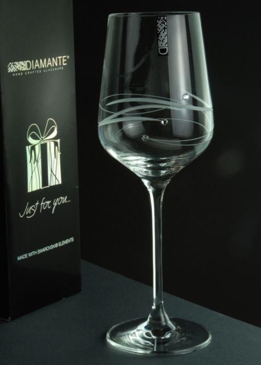 Just For You - Diamante Spiral Wine Glass Gift
