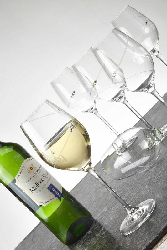 Diamante Silhouette White Wine Glass Set