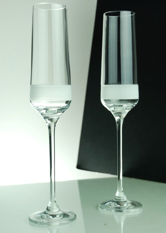 Set of 6 Diamond Crystal Flutes
