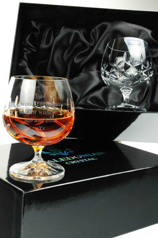 Engraved Admiralty Brandy Glasses in Presentation Box