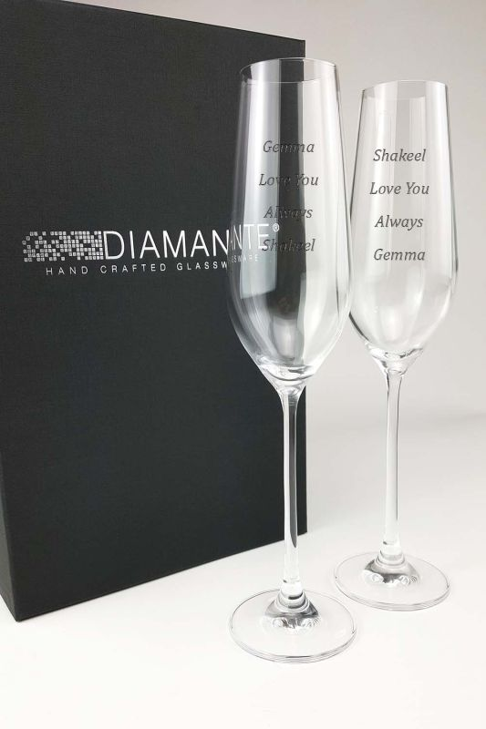 Engraved Champagne Glasses | Auris