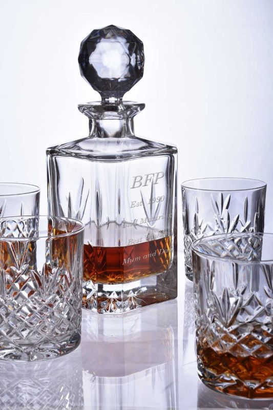 Personalised 5pc Lead Crystal Spirit Decanter Set with Inscription and/or Logo
