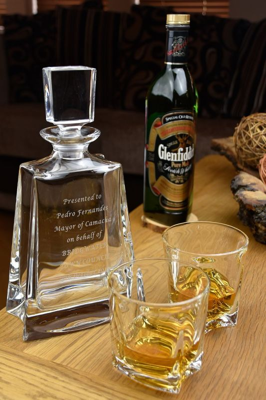 Engraved Crystal Decanter & Whisky Glass Gift Set