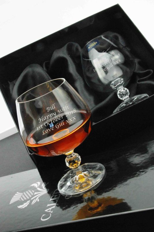 Engraved Brandy Glasses Gift Pair