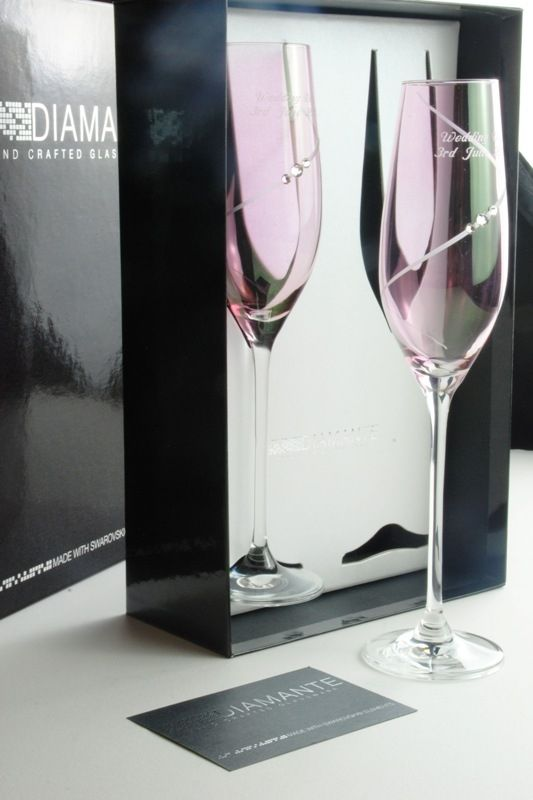 Engraved Pink Silhouette Flutes with Swarovski Elements