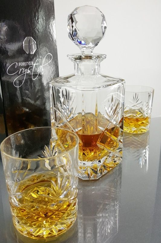 Galleon Crystal 3-Piece Square Whisky Decanter Set