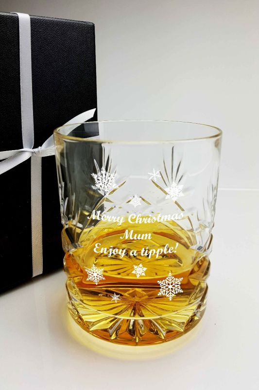 Personalised Christmas Whisky Glass Gift for Mum - Snow Flakes