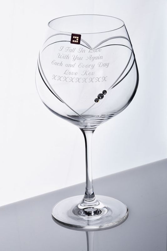 Personalised Heart Gin Glass Gift | Diamante Gift Box