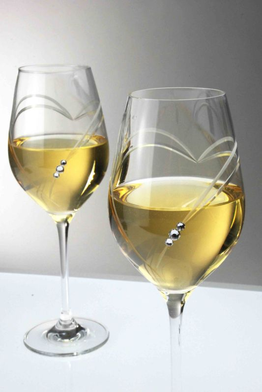 Heart White Wine Glasses