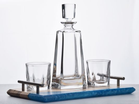 Handcrafted Walnut and Blue Resin Tray combined with a Kathrene Crystal Decanter Set