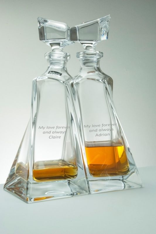 Engraved Lovers Decanter Pair with Personalised Inscription