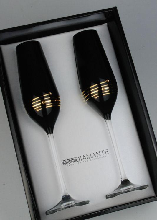 Nero Black Champagne Flutes With Swarovski Elements