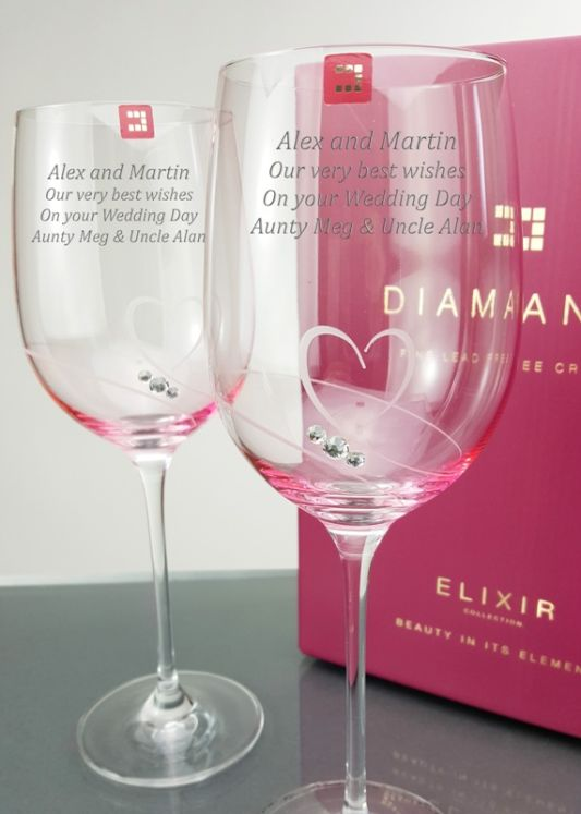 Personalised Affinity Heart Wine Glass Pair