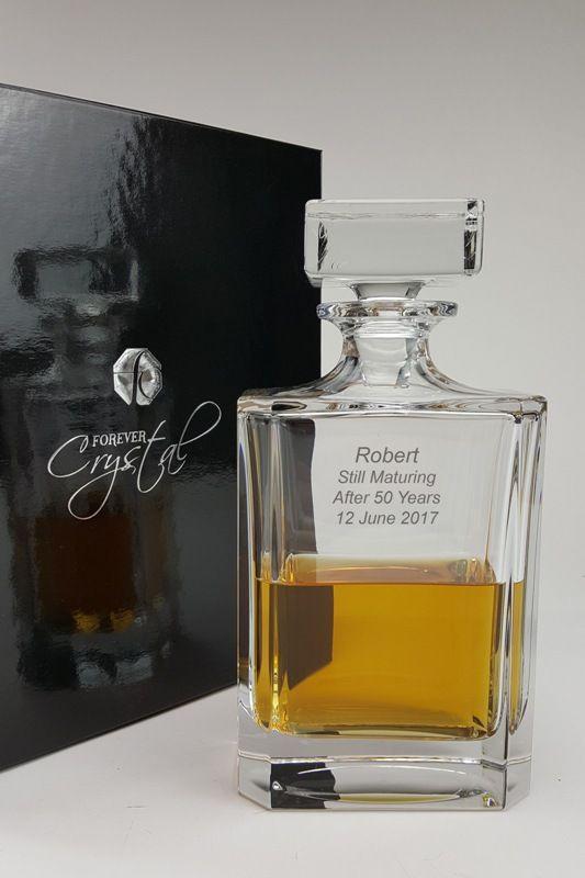 Personalised Avon Crystal Spirit Decanter in Satin Presentation Box