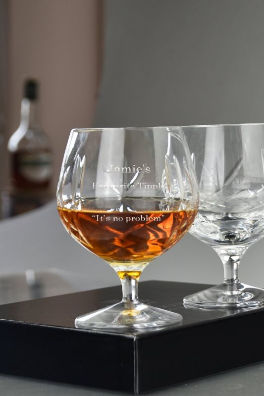 Engraved Traditional Crystal Brandy Glasses