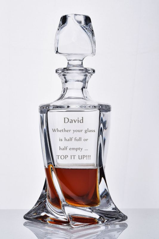 Personalised Quadro Spirit Decanter | Presentation Gift Boxed