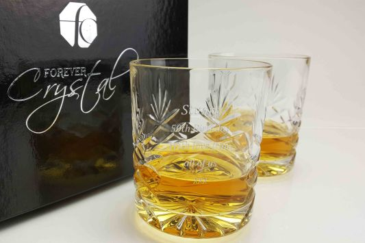 Personalised Galleon Crystal Double Old Fashioned Tumbler Pair