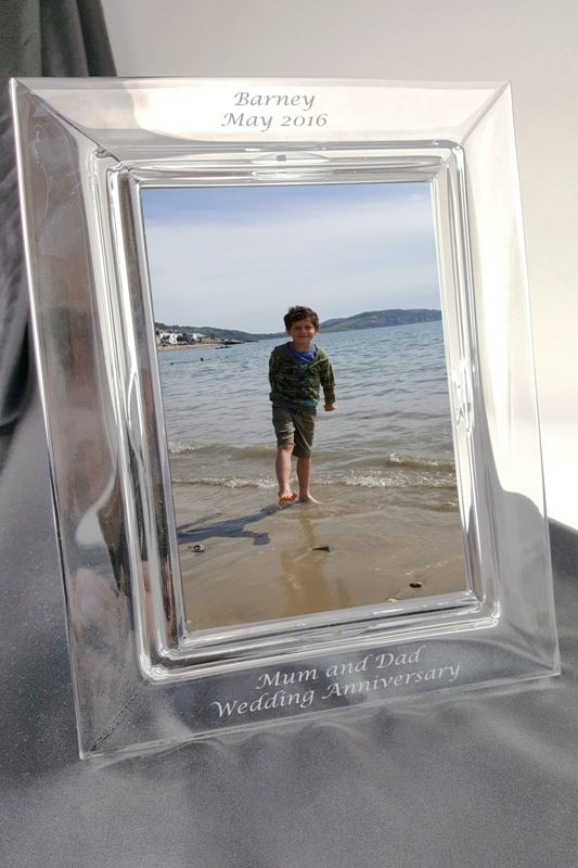 Crystal Photo Frame with Diamond Engraved Personal Inscription