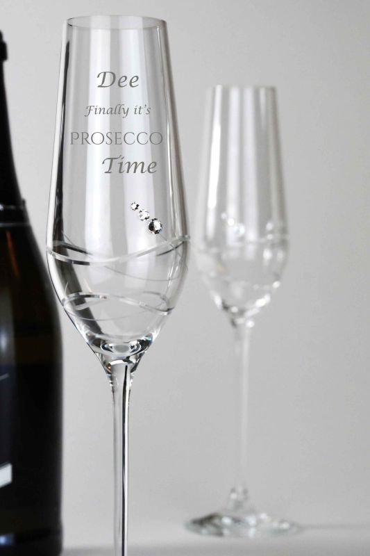Personalised Prosecco Flutes | Diamante